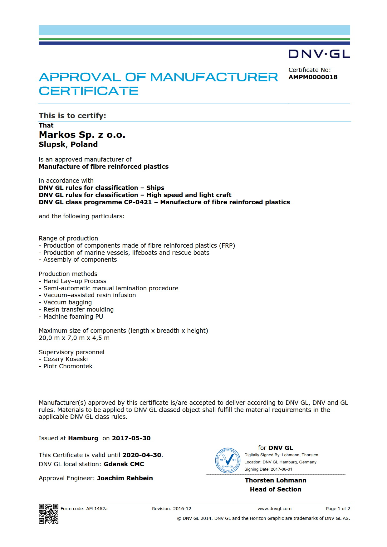 Approval Of Manufacturer Certificate
